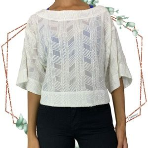7 for all mankind embroidered batwing boatneck top